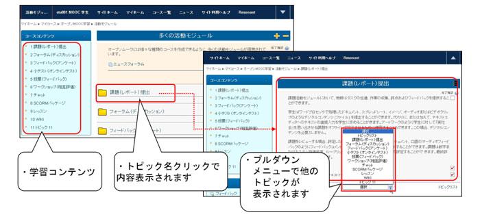 学習支援システム画面(オープンムークLMS)